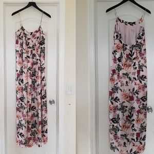 Arc & Co Dress Maxi Pink Floral Spaghetti Strap S